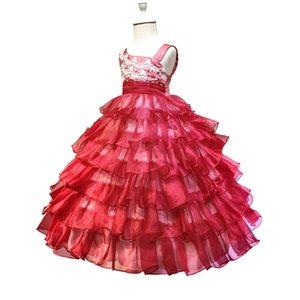 HG Prinzessin Kleider 2-10 Jahre Mädchen Festzug Kleid Organza 2016 Neue Ankunft Rote Blume Mädchen Kleider Für Hochzeiten Kinder Abendkleid