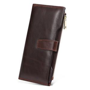 패션 캐주얼 긴 지갑의 새로운 남자의 가죽 핸드백 암소 가죽 대용량 가죽 클러치 카드 ID 홀더 남성의 지갑