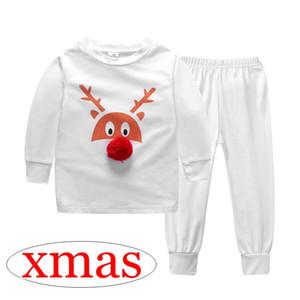 filles de Noël cerf 3D elk print pyjama blanc enfants 100% coton noël 2pc set top blanc tees pp pantalons