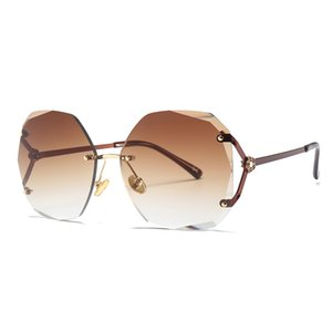 Frauen Frameless Diamant Sonnenbrillen Mädchen hochwertige Spiegel Flut Einzigartige Retro Runde Gesicht Randlose Sonnenbrille Mode Sun Trimming