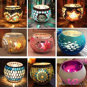모자이크 유리 촛대 웨딩 파티 방첩 웨딩 바 촛불 홀더 홈 장식 랜턴 XMAS 선물로 촛불 TY7-271하지