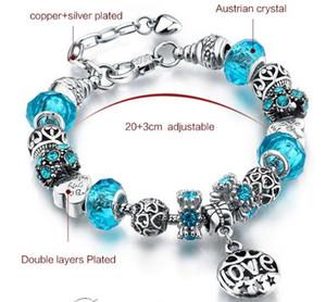 Горячие продажа Европа мода 18+3 см 925sterling посеребренные любовь печатных прелести браслеты, 6 различных цветов для вашего выбора