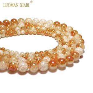 Wholesale One Side Plated Orange White Snow Cracked Crystal Natural Stone  For Jewelry Making DIY Bracelet Necklace 6-12mm