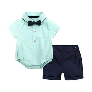 Sommer-Baby-Set Jungen Kleidungssatz Baby-Strampler Gentleman Kurzarm T-Shirt + Overalls Klage 2pcs neugeborene Kleidung