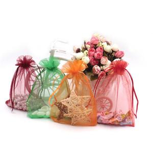 7 * 9Inches 300pcs / lot حقيبة مجوهرات اورجانزا عرس حزب هدية حقيبة متعدد الألوان مجوهرات التعبئة شبكة الحقيبة حقيبة تخزين شفافة اليدوية