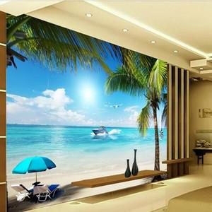 Аркади 3D пляж вид на море стены стикеры настенная роспись наклейка обои Гостиная Спальня Прихожая детские комнаты бесплатная доставка