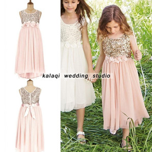 2018 Sweet Tulle Appliques Long Flower Girls Dresses Seuqin senza maniche Fiori Girl Dress with Bow Cheap Little Childern Pageant for Teens