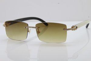 BLANCHE Petite Rimless Big Édition Limited Big Stones à l'intérieur Black Buffalo Horn Sunglasses 3524012 Lunettes Sun 2020 18K Or Nouvelles lunettes mair