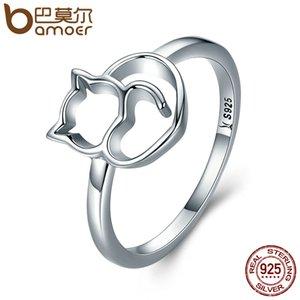 BAMOER autentico 100% argento sterling 925 Naughty Little Cat cuore anello per le donne gioielli in argento sterling regalo SCR104