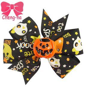 Halloween Hair Bow Girls 3 &Quot ;Print Ribbon Pinwheel Hair Accessories With Clips Kids Handmade Alligatorr Hair Bow For Halloween 12pcs