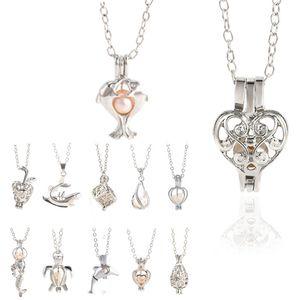 12 Estilo Oyster Pearl Pendant colares Unicórnio Gaiolas Locket escavar Amor Desejo Colar Pérola Rose Flor da sereia da jóia DIY