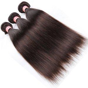 Renk 2 # 27 # Brezilyalı Düz Saç Örgü Demetleri 10 '' -24 '' İnsan Saç Paketler Brezilyalı İnsan Saç Uzantıları 3 veya 4 adet Koyu Kahverengi