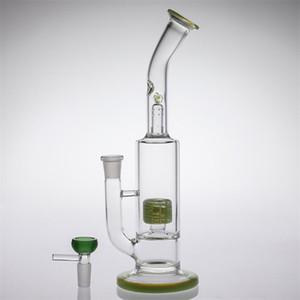 28 cm Kase Ortak Boyutu 14.4mm Nargile Floresan Yeşil Cam Bongs iki füzyon Dab Kuleleri Lastik Perc Kol Ağacı Dab kuleleri Sigara bong