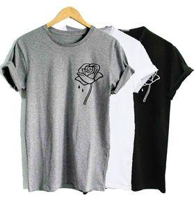 ZSIIBO Rose Flor Bolso Impressão Mulheres Camiseta Casual Engraçado t shirt Para Lady Top Tee plus size Mulheres Tops