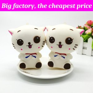 Squishy chaton mignon 12 cm * 11 cm énorme Slow Rising Soft Squeeze mignon cadeau de sangle de téléphone portable Stress enfants jouets Decompression Toy