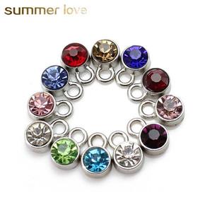 Nouveau mode ronde en acier inoxydable Cristal Pendentifs Charm Bracelet pour Collier bijoux colorés Birthstone Charm Accessoires Diy 2018