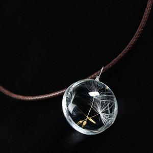 Venta caliente Real Dandelion Jewelry Crystal Glass Ball Dandelion Collar Larga Tira de Cadena de Cuero Collares pendientes Para Las Mujeres