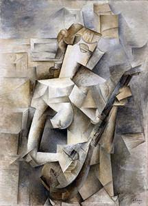 Pablo Picasso menina com um bandolim pintado à mão HD Imprimir Famoso Abstract Art Oil Painting on Canvas cultura de escritório p339 alta qualidade