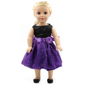 Handgefertigte 15 Farben Prinzessin Kleid Puppenkleider für 18-Zoll-Puppen American Girl Puppenkleidung und Zubehör D-9