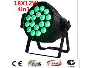 2pcs / lot LED Par 18x12W 4in1 RGBW LED plat en plastique Par Can Disco lampe Éclairage scénique Luces Discoteca faisceau laser Luz de Pro