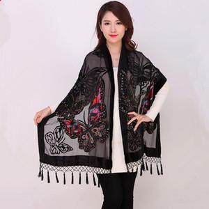 Mujeres chinas de terciopelo de seda con cuentas mantones bordados hechos a mano de la vendimia bufanda bufanda larga franja Pashmina mariposa cabo stole