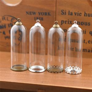10set 50 * 18mm tube de verre creux cloche en verre pot avec réglage base perles bouchon ensemble flacons en verre pendentif sphère creuse bijoux conclusions