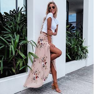 Женские Midi юбка белый принт цветочные воланом бохо асимметричный высокой талией Юбка плиссированные оборки мода Сплит летняя юбка
