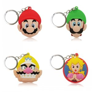 Cute Super Mario Keychain Soft PVC Charm Pendant Keyring Kid Gift Party Favors Key Covers Bag Straps Decor Accessories