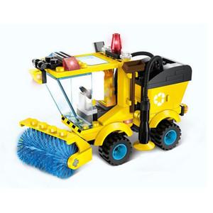 102pcs / set 도시 시리즈 스위퍼 자동차 트럭 모델 빌딩 블록 조립 교육 장난감 교육 벽돌 어린이 선물