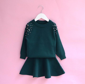 2018 Autumn New Girl Clothing Sets Solid Color Beading Long Sleeve Sweater+Skirt 2pcs Outfits Children Clothing 2-6Y B64
