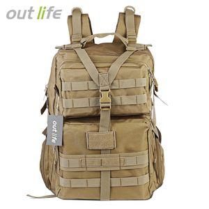 Outlife 45L Gran capacidad Tactical Molle Mochila Camping Trekking Senderismo Mochila Bolsa de hombro impermeable del ejército