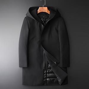 Escudo Minglu Mediados larga con capucha de Down masculino calidad de Hight Slim Fit Casual Grueso pato abajo de la chaqueta de los hombres de la chaqueta para hombre del invierno