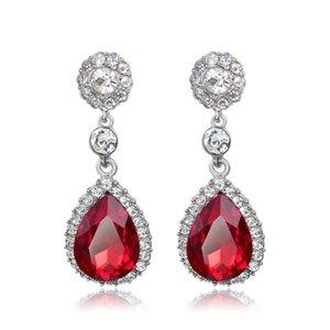 Fashion Teardrop Dangle Red White Sapphire Zirconia placcato oro orecchini Donna gioielli regalo di fidanzamento della ragazza