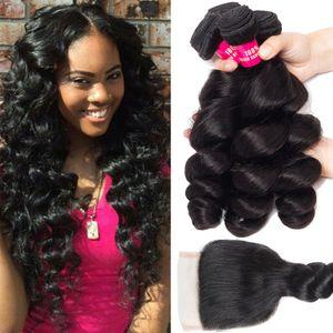 8A Extensiones brasileñas del pelo humano de la Virgen 3Bundles con el cierre del cordón 100% brasileño peruano malasio indio mongol armadura del pelo humano