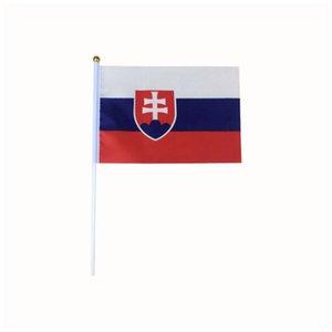 Slovakya ülke bayrak afiş, 170 ton polyester bayrak afiş, küçük boyutlu yandan bayrak afiş 14 x 21 cm