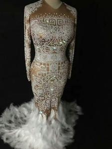 DJ Songbird Sparkly Pedrinhas Pena Nude Vestido Sexy Boate Pedras Cheias Longo Grande Cauda Vestido Traje de Aniversário Comemorar Vestidos