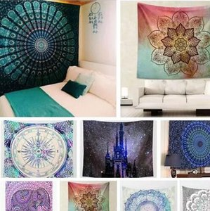 Hippy Mandala Tapestry Bohemian Tapestry Wall Hanging Psichedelico Wall Art Dorm Decor Beach Tiro Indian Wall Arazzi Telo mare 21 Stili