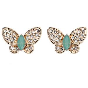 Tasarımcı Marka Mücevherat Yüksek Kaliteli Kristal Swarovski Elements Kelebekler Saplama Küpe Kadın Moda Aksesuarları 6955