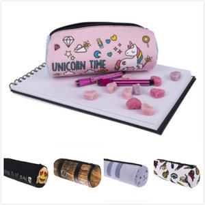 Nouveau Creative Conception Licorne 3D Impression Oxford Cylindrique Cosmétique Sac De Stockage Sacs Femmes Maquillage Sac Enfants Crayon Cas 19 * 8 cm