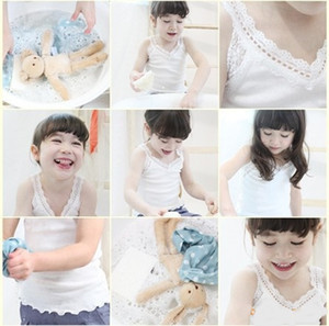 Baby Girls Clothes Vest Baby Singlet Top Knit cotton Summer Kids Tees Lace Neckline Toddler Girls top for summer wear