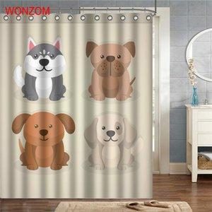 Animal moderne chat chien bain imperméable rideau 3D Polyester Tissu rideau de douche avec 12 crochets pour Mildewproof salle de bains Décor