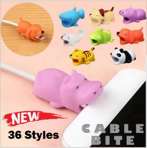 Hot 36styles Kabel Bisstierbisskabelschutz Zubehör Spielzeug Kabel beißt Hund Schwein Elefant Axolotl für iPhone Smartphone-Ladegerät Cord