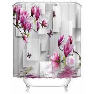 3d Peach Blossom Bathroom 3d Shower Curtains Floral Print Fabric Waterproof Mildew Resistant Bath Decor Curtain for Windows