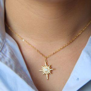 moda banhado a ouro jóias northstar colar de pingente com clear cz fogo branco opala gemstone starburst 2021 jóias de presente de natal