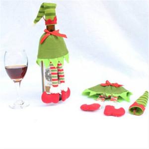 2020 Бесплатная доставка Рождественские Украшения Горошек Бутылку Обложка Бутылка Декор Полоса Винные Бутылки Крышки Сумки