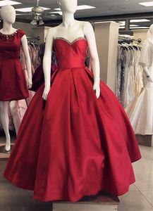 Elegant Sweetheart Lange A-Linie Burgund Perlen Prom Dresses Bodenlangen Partykleid Plus Size Formale Frauen Satin Strapless Abendkleider