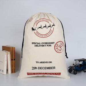 Sacs de cadeau de Noël Grand sac de toile lourd organique Sac de sac à dos Santa Sac avec rennes Père Noël Sac sacs pour enfants