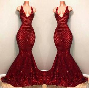 2020 Bling Rouge Bling Saislu Fête De Pal Robe Sans Manches Sirène Plungeging V cou Black Fille Africaine Célébrités Robes de soirée Robes de soirée