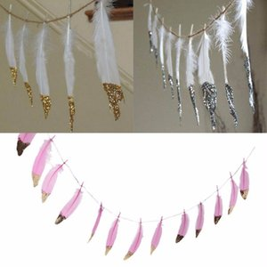 2M 13PCS Buntings with Gold Glitter Feather Banner Garlands Wedding Party Decor Tassel Garland Hanging Decor