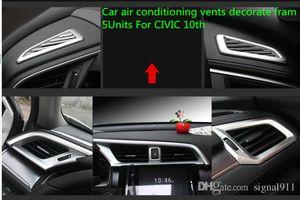 Alta qualidade ABS cromo 5units Respiradouros do carro ar condicionado decorar frame, tomada de ar decoração capa para Honda CIVIC 2016-2018